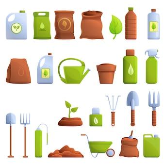 Conjunto de iconos de fertilizantes, estilo de dibujos animados