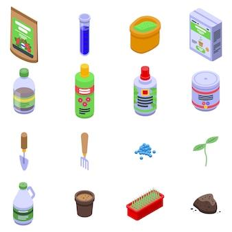 Conjunto de iconos de fertilizantes, estilo isométrico