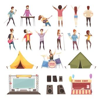 Conjunto de iconos de festival al aire libre