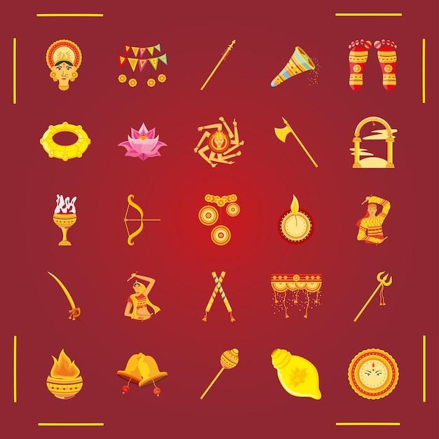 Conjunto de iconos festival navratri sobre fondo rojo.
