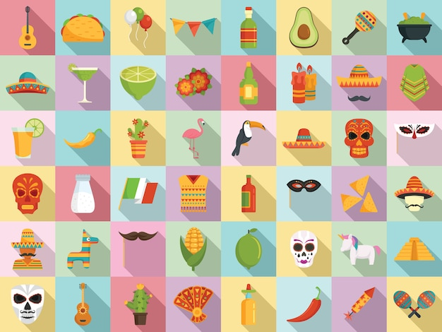 Conjunto de iconos de fiesta, estilo plano