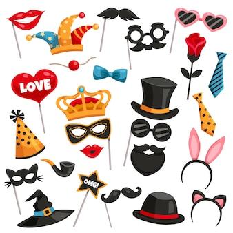 Conjunto de iconos de la fiesta de la foto del carnaval