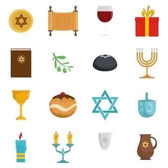 Conjunto de iconos de la fiesta judía de janucá