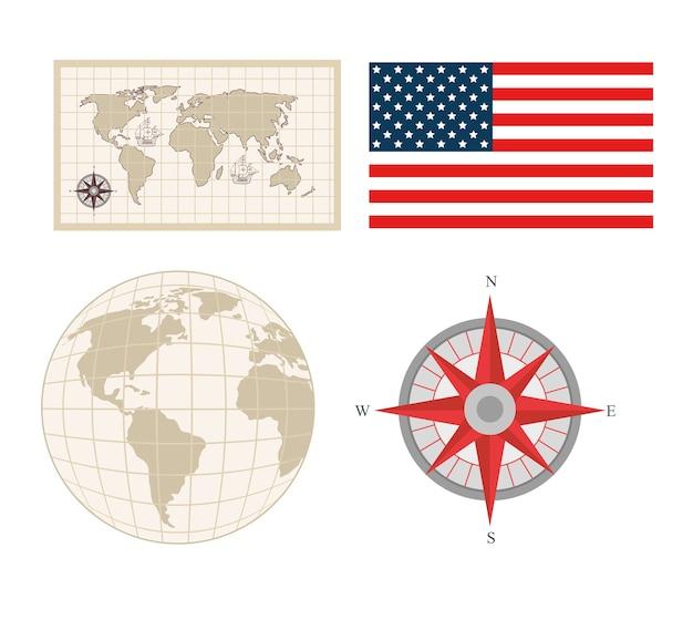 Conjunto de iconos de fiesta nacional de estados unidos feliz día de colón