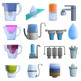 Conjunto de iconos de filtro de agua, estilo de dibujos animados