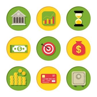 Conjunto de iconos financieros de dinero de banco moneda billete seguro y tarjeta de plástico aislado ilustración vectorial