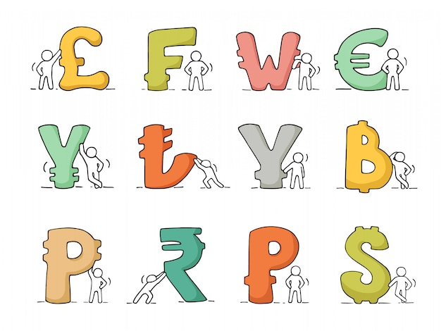 Conjunto de iconos de finanzas de bosquejo trabajando pequeñas personas con moneda.