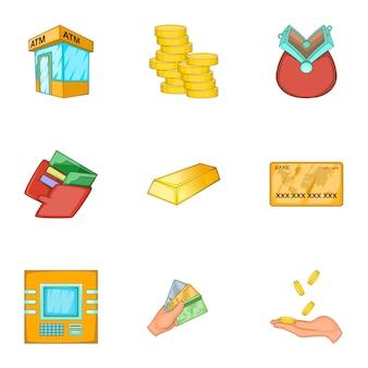 Conjunto de iconos de finanzas, estilo de dibujos animados