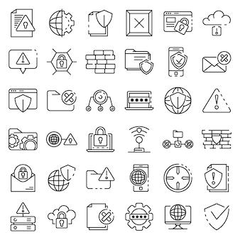 Conjunto de iconos de firewall, estilo de contorno