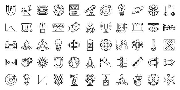 Conjunto de iconos de física, estilo de contorno