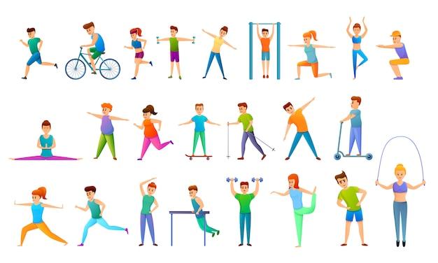 Conjunto de iconos de fitness al aire libre, estilo de dibujos animados