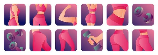 Conjunto de iconos de fitness femenino con cuerpo perfecto tonificado