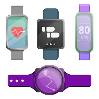 Conjunto de iconos de fitness tracker, estilo de dibujos animados
