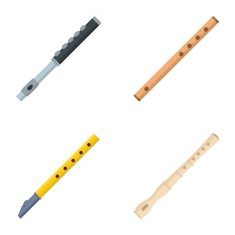 Conjunto de iconos de flauta