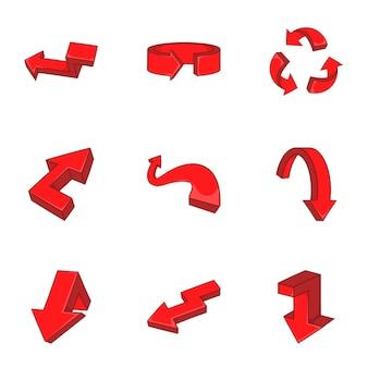 Conjunto de iconos de flecha, estilo de dibujos animados