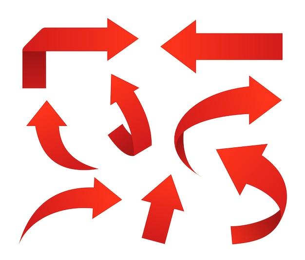 Conjunto de iconos de flecha roja sobre blanco