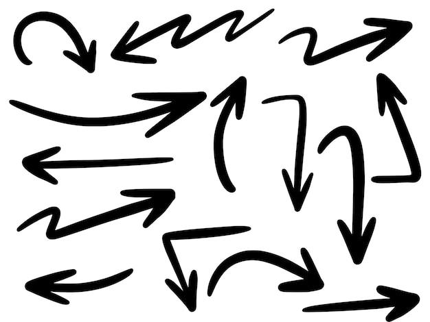 Conjunto de iconos de flechas dibujados a mano aislado en blanco.