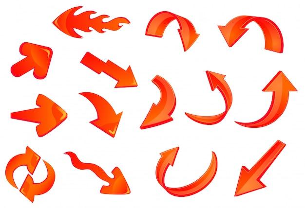Conjunto de iconos de flechas rojas brillantes
