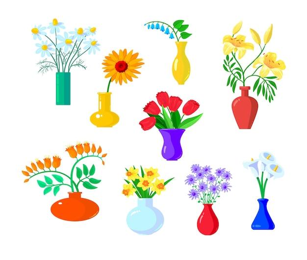 Conjunto de iconos de flores aisladas en blanco.