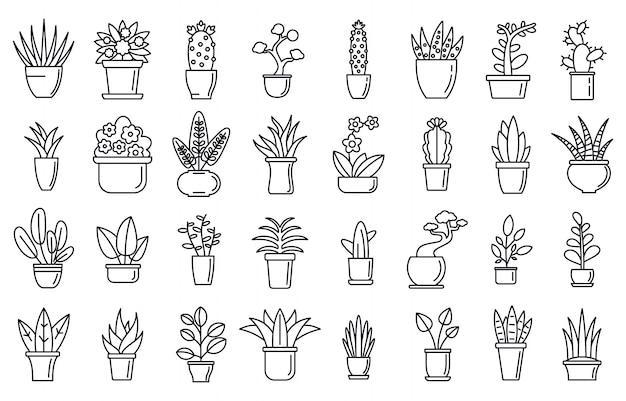 Conjunto de iconos de flores de plantas de interior, estilo de contorno