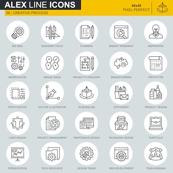 Conjunto de iconos de flujo de trabajo de proceso y proyecto de línea delgada creativa