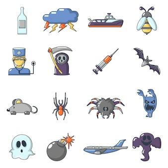 Conjunto de iconos de fobias de miedos.