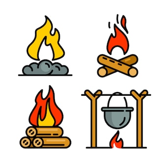 Conjunto de iconos de fogata, estilo de contorno