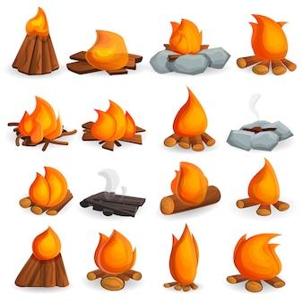 Conjunto de iconos de fogata, estilo de dibujos animados