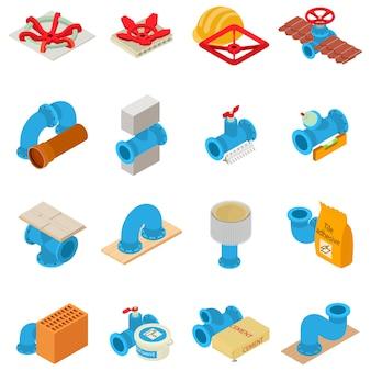 Conjunto de iconos de fontanería, estilo isométrico