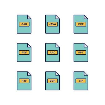 Conjunto de iconos de formatos de archivo aislado sobre fondo blanco