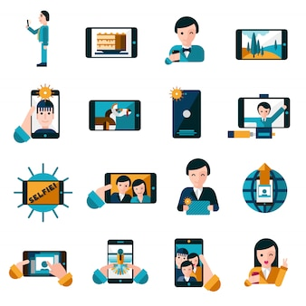 Conjunto de iconos de fotos móviles