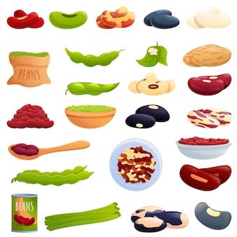 Conjunto de iconos de frijol, estilo de dibujos animados