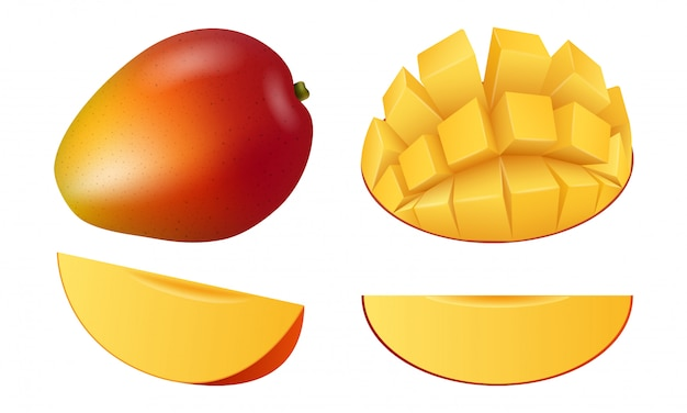 Conjunto de iconos de fruta de mango, estilo realista