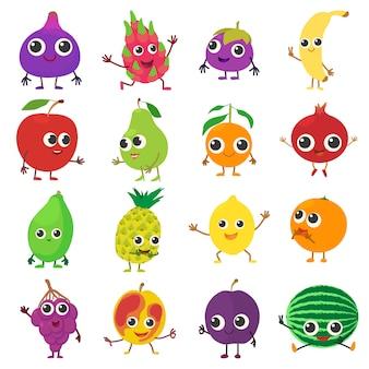 Conjunto de iconos de fruta sonriente. ilustración de dibujos animados de 16 iconos de vectores de frutas sonrientes para web