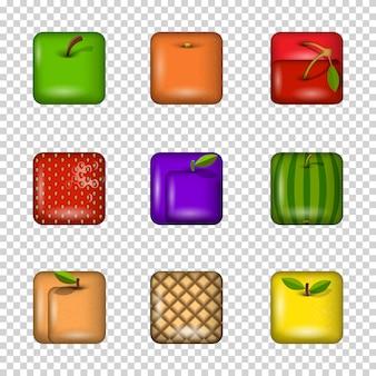 Conjunto de iconos de frutas de aplicaciones