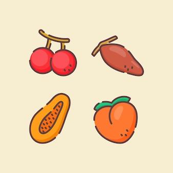 Conjunto de iconos de frutas colección cherry papaya melocotón dátil