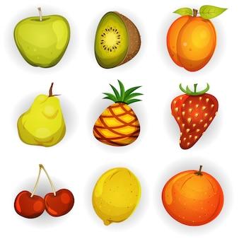 Conjunto de iconos de frutas de dibujos animados