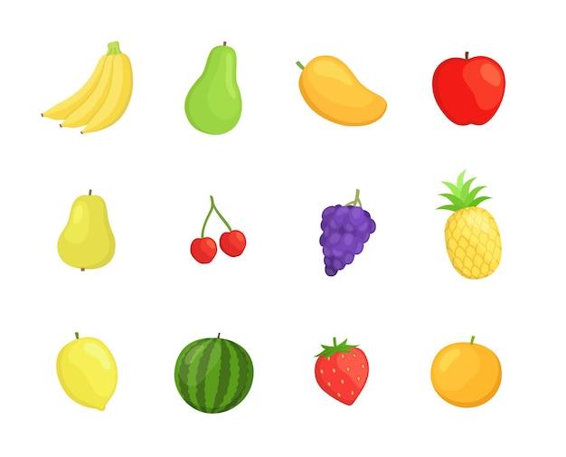 Conjunto de iconos de frutas en diseño de estilo plano