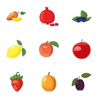Conjunto de iconos de frutas, estilo de dibujos animados