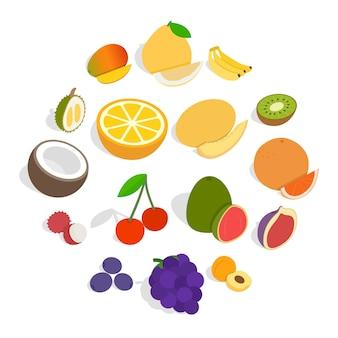 Conjunto de iconos de frutas, estilo isométrico 3d