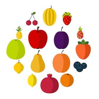 Conjunto de iconos de frutas, estilo plano