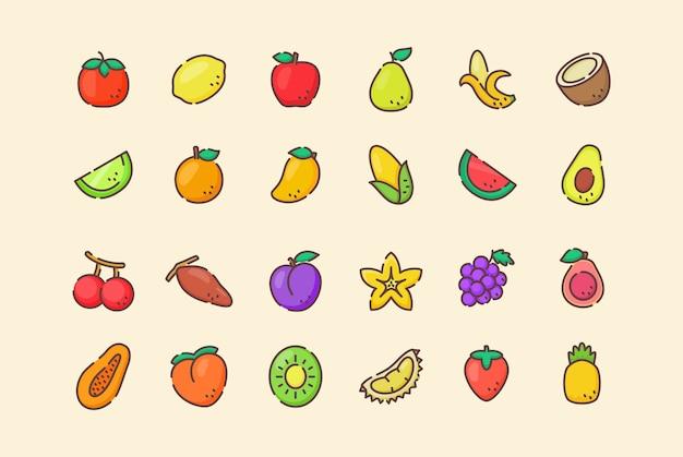 Conjunto de iconos de frutas frescas orgánicas