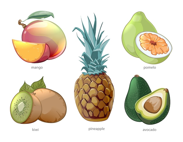 Conjunto de iconos de frutas tropicales exóticas de dibujos animados. pomelo mango piña kiwi