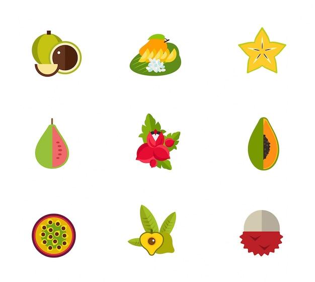 Conjunto de iconos de frutas tropicales