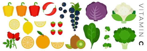 Conjunto de iconos de frutas y verduras aislado en blanco