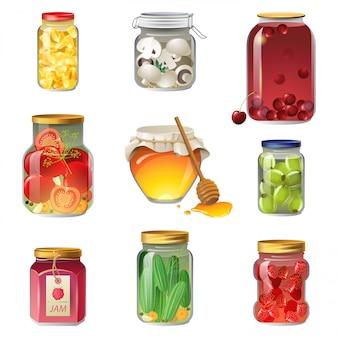 Conjunto de iconos de frutas y verduras enlatadas