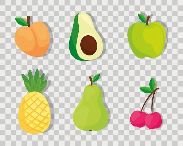 Conjunto de iconos de frutas y verduras frescas y deliciosas