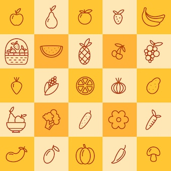 Conjunto de iconos de frutas y verduras