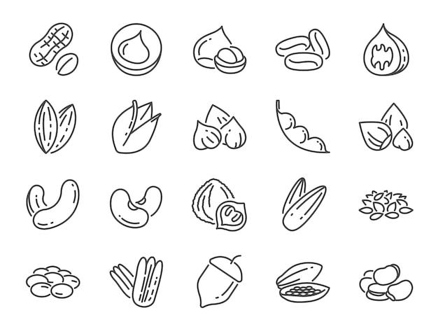 Conjunto de iconos de frutos secos, semillas y frijoles.