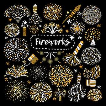 Conjunto de iconos de fuegos artificiales de oro festivo